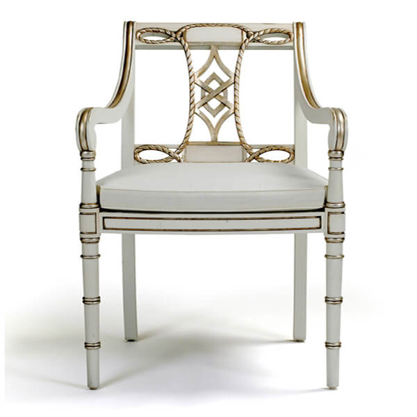 Antique White Paint Dining Armchairs KMK 059