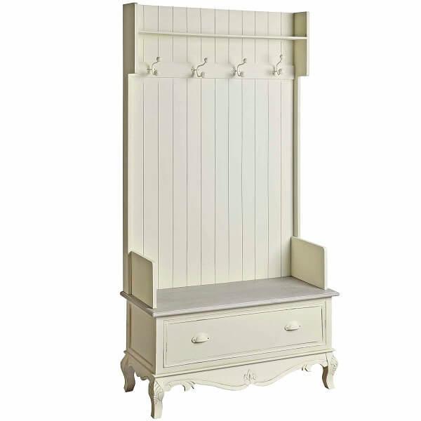 Antique White Paint Mahogany Bench KKS 036