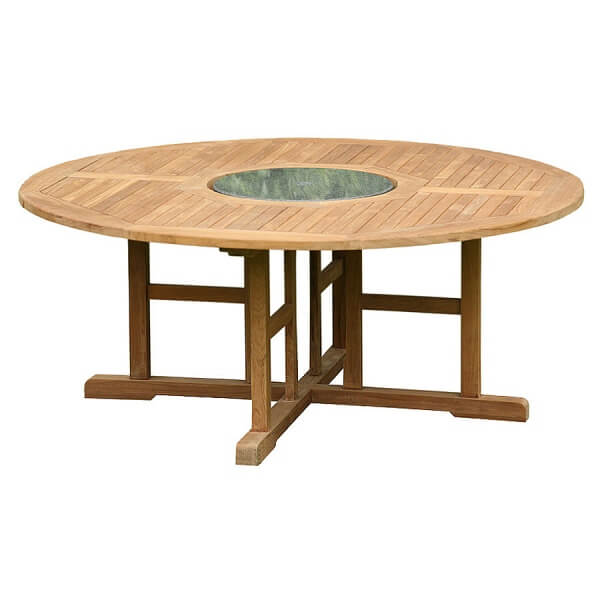 Teak Round Table Inlay Big KTT 086